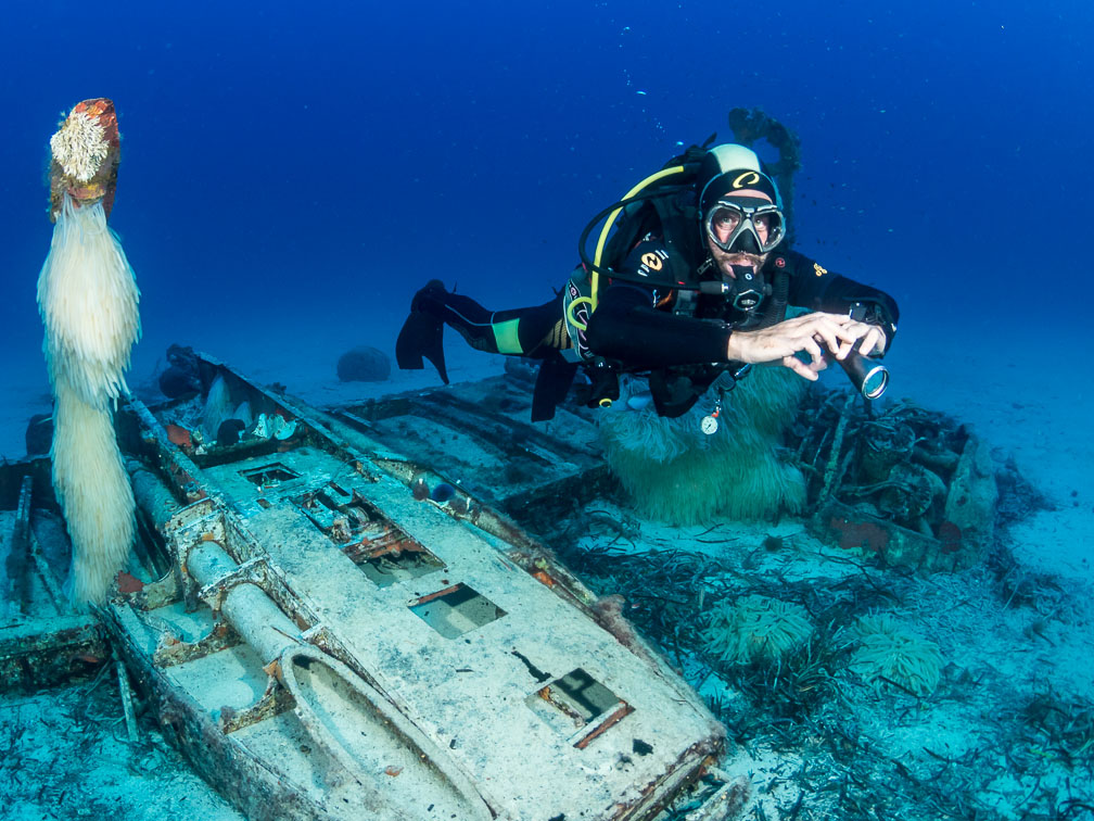 wreck diving in Malta on WW2 plane